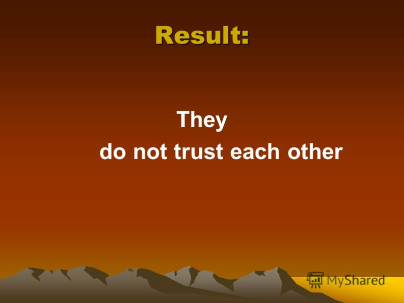 Result: They do not trust each other
