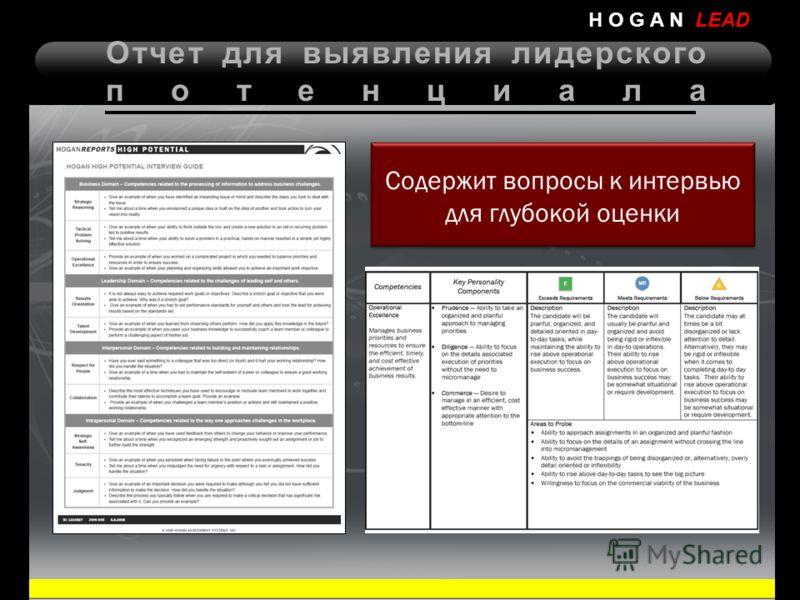 Отчет для выявления лидерского потенциала H O G A N LEAD Содержит вопросы к интервью для глубокой оценки