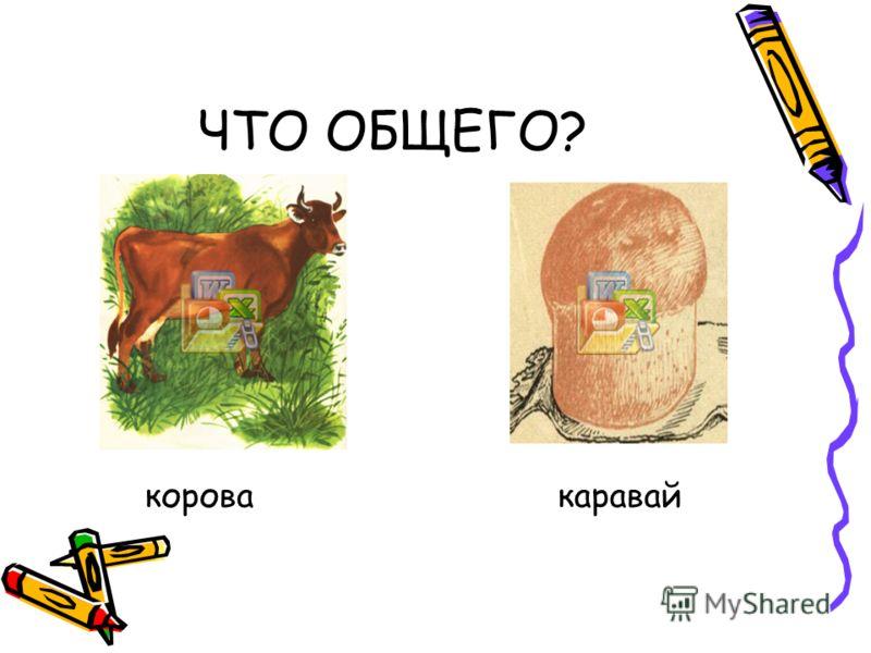 ЧТО ОБЩЕГО? корова каравай