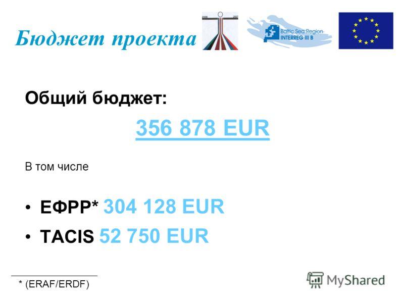 Бюджет проекта Общий бюджет: 356 878 EUR В том числе ЕФРР* 304 128 EUR TACIS 52 750 EUR * (ERAF/ERDF)