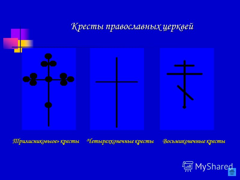 Восьмиконечные кресты Четырехконечные кресты Трилисниковыое» кресты Кресты православных церквей