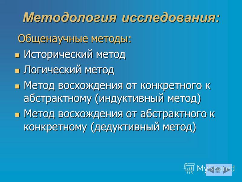 Методология исследования: Общенаучные методы: Общенаучные методы: Исторический метод Исторический метод Логический метод Логический метод Метод восхождения от конкретного к абстрактному (индуктивный метод) Метод восхождения от конкретного к абстрактн
