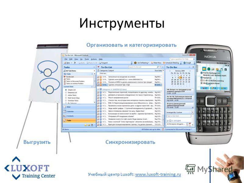 Инструменты Учебный центр Luxoft: www.luxoft-training.ru Выгрузить Организовать и категоризировать Синхронизировать