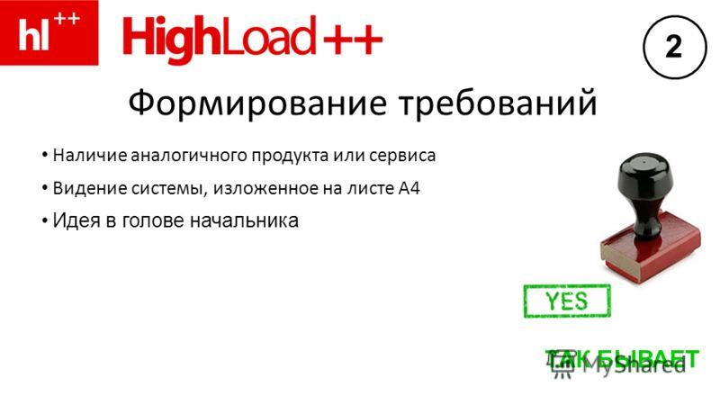 Формирование требований Наличие аналогичного продукта или сервиса Видение системы, изложенное на листе А4 Идея в голове начальника ТАК БЫВАЕТ 2