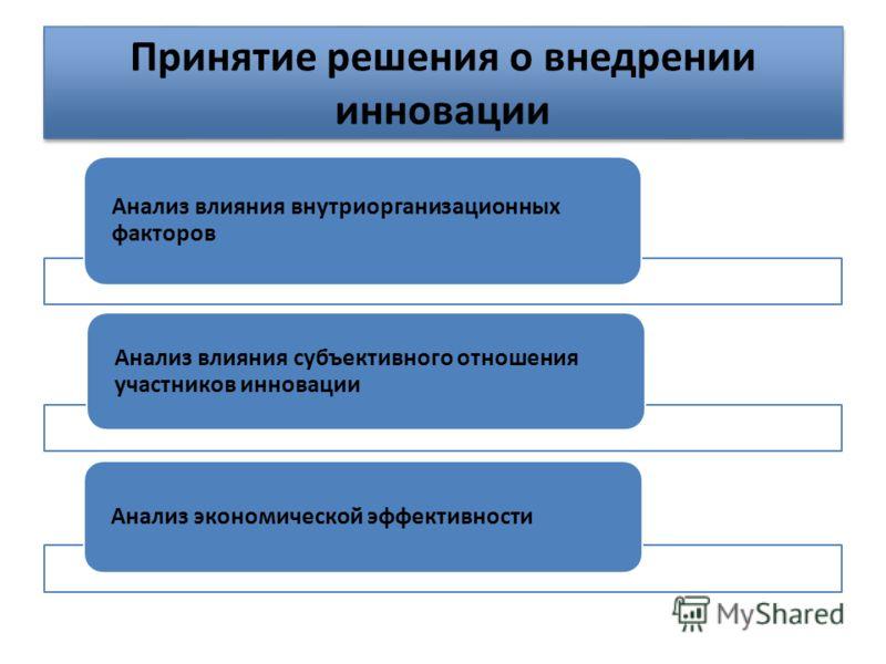 Принятие решения о внедрении инновации Анализ влияния внутриорганизационных факторов Анализ влияния субъективного отношения участников инновации Анализ экономической эффективности