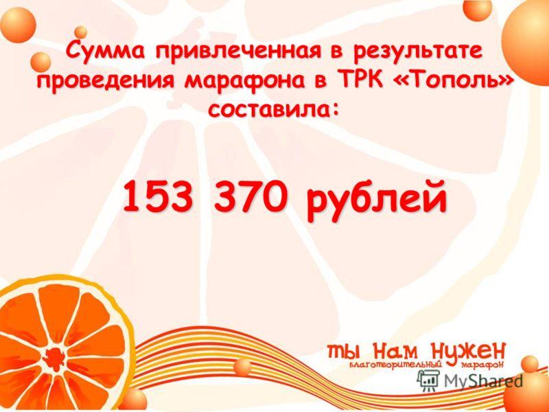 Сумма привлеченная в результате проведения марафона в ТРК «Тополь» составила: 153 370 рублей