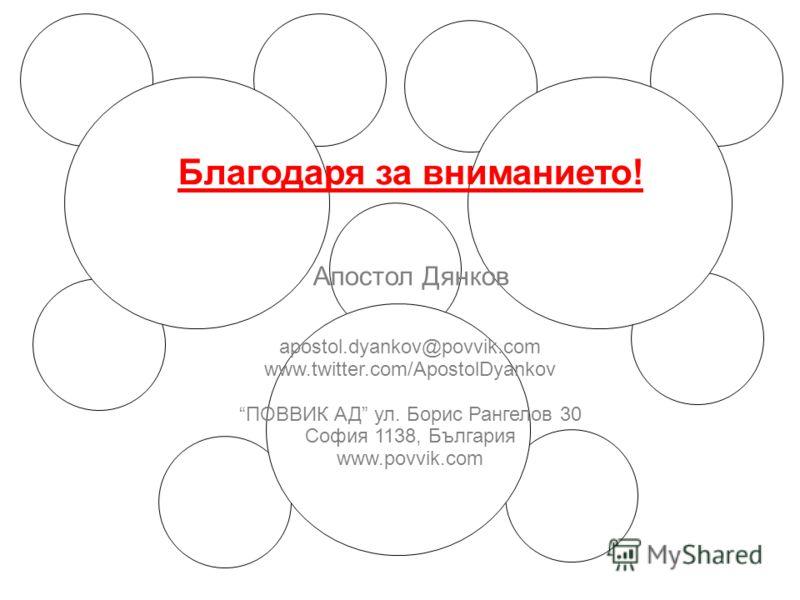 Благодаря за вниманието! Апостол Дянков аpostol.dyankov@povvik.com www.twitter.com/ApostolDyankov ПОВВИК АД ул. Борис Рангелов 30 София 1138, България www.povvik.com