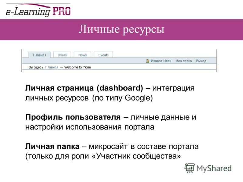 Личные ресурсы Личная страница (dashboard) – интеграция личных ресурсов (по типу Google) Профиль пользователя – личные данные и настройки использования портала Личная папка – микросайт в составе портала (только для роли «Участник сообщества»