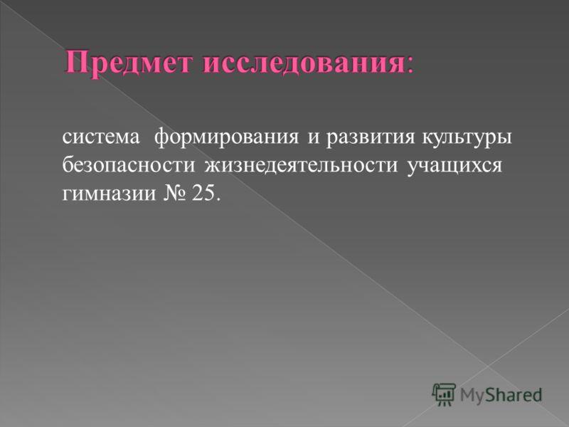 система формирования и развития культуры безопасности жизнедеятельности учащихся гимназии 25.