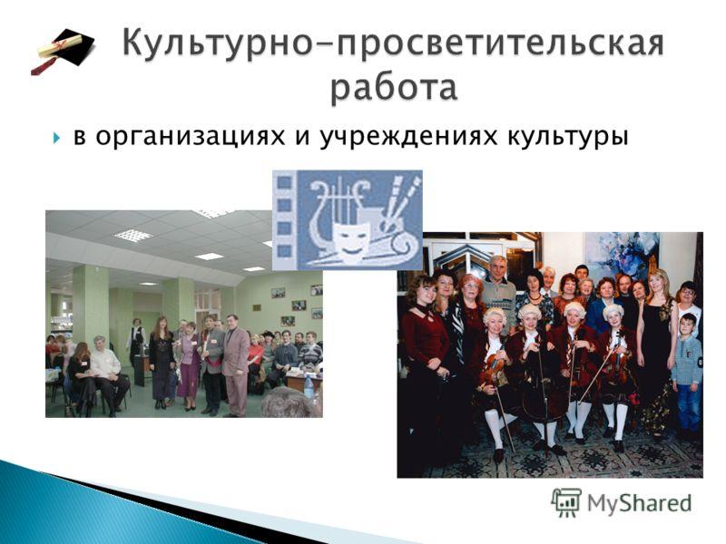 в организациях и учреждениях культуры