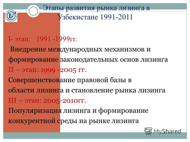 Этапы развития рынка лизинга в Узбекистане 1991-2011 I- этап: 1991 -1999гг. Внедрение международных механизмов и формирование законодательных основ лизинга II – этап: 1999 -2005 гг. Совершенствование правовой базы в области лизинга и становление рынк