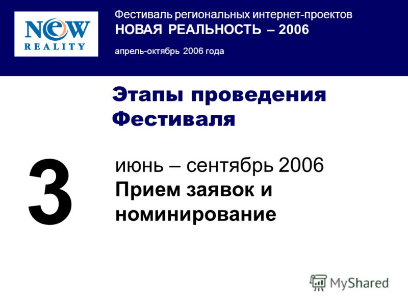 Фестиваль региональных интернет-проектов НОВАЯ РЕАЛЬНОСТЬ – 2006 апрель-октябрь 2006 года Этапы проведения Фестиваля июнь – сентябрь 2006 Прием заявок и номинирование 3