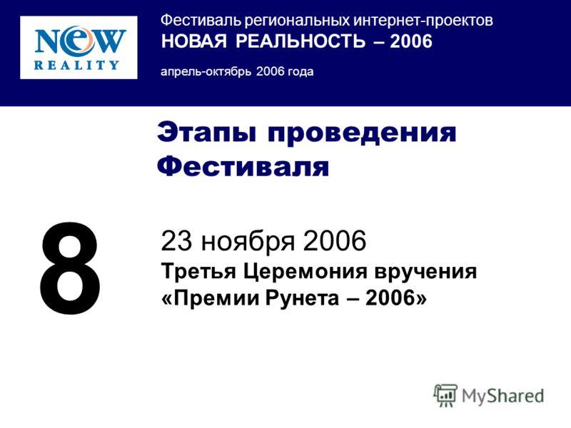 Фестиваль региональных интернет-проектов НОВАЯ РЕАЛЬНОСТЬ – 2006 апрель-октябрь 2006 года Этапы проведения Фестиваля 23 ноября 2006 Третья Церемония вручения «Премии Рунета – 2006» 8