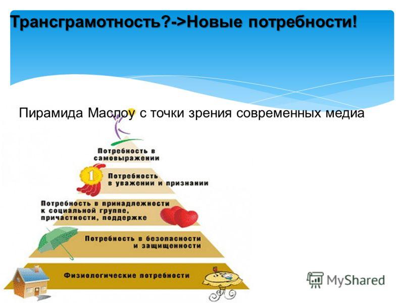 Пирамида Маслоу с точки зрения современных медиа Трансграмотность?->Новые потребности!