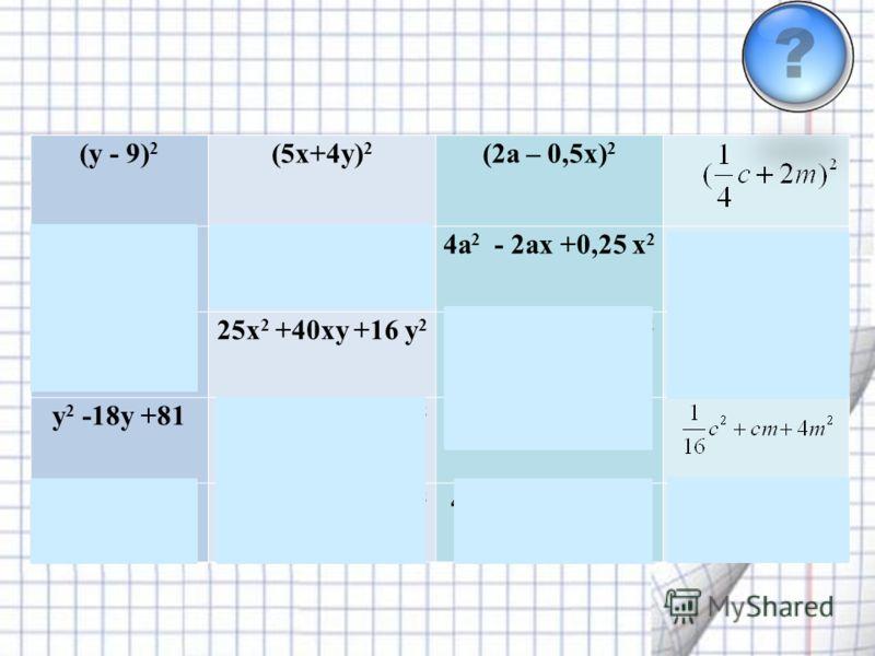 (y - 9) 2 (5x+4y) 2 (2a – 0,5x) 2 y 2 -9y +8125x 2 - 20xy +16 y 2 4a 2 - 2ax +0,25 x 2 y 2 + 18y +8125x 2 +40xy +16 y 2 4a 2 + 2ax +0,25 x 2 y 2 -18y +8125x 2 +20xy +16 y 2 4a 2 - ax +0,25 x 2 y 2 + 9y +8125x 2 - 40xy +16 y 2 4a 2 + ax +0,25 x 2 Выбр