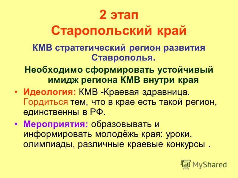 2 этап Старопольский край КМВ стратегический регион развития Ставрополья. Необходимо сформировать устойчивый имидж региона КМВ внутри края Идеология: КМВ -Краевая здравница. Гордиться тем, что в крае есть такой регион, единственны в РФ. Мероприятия: