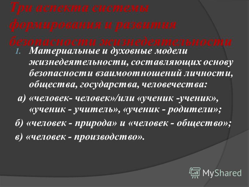 Три аспекта системы формирования и развития безопасности жизнедеятельности 1. Материальные и духовные модели жизнедеятельности, составляющих основу безопасности взаимоотношений личности, общества, государства, человечества: а) «человек- человек»/или