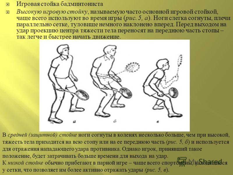 Игровая стойка бадминтониста Высокую игровую стойку, называемую часто основной игровой стойкой, чаще всего используют во время игры ( рис. 5, а ). Ноги слегка согнуты, плечи параллельно сетке, туловище немного наклонено вперед. Перед выходом на удар