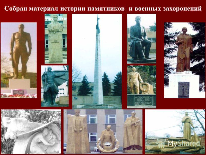 8 Собран материал истории памятников и военных захоронений