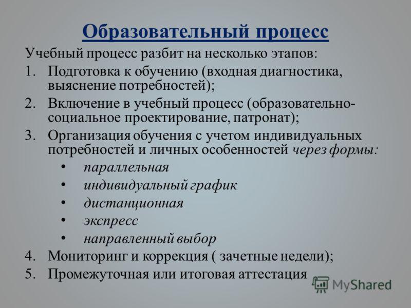 Образовательный процесс Учебный процесс разбит на несколько этапов: 1.Подготовка к обучению (входная диагностика, выяснение потребностей); 2.Включение в учебный процесс (образовательно- социальное проектирование, патронат); 3.Организация обучения с у