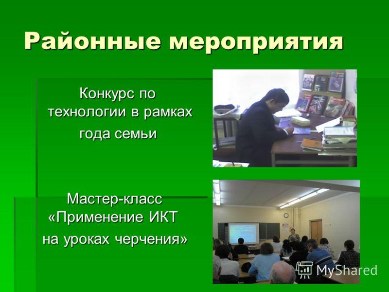 Районные мероприятия Конкурс по технологии в рамках Конкурс по технологии в рамках года семьи года семьи Мастер-класс «Применение ИКТ Мастер-класс «Применение ИКТ на уроках черчения» на уроках черчения»