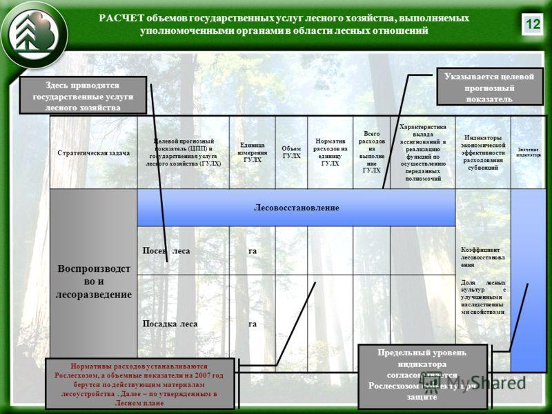 12 РАСЧЕТ объемов государственных услуг лесного хозяйства, выполняемых уполномоченными органами в области лесных отношений Стратегическая задача Целевой прогнозный показатель (ЦПП) и государственная услуга лесного хозяйства (ГУЛХ) Единица измерения Г