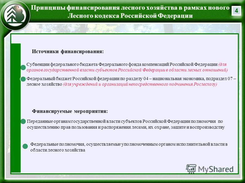 4 Принципы финансирования лесного хозяйства в рамках нового Лесного кодекса Российской Федерации Субвенции федерального бюджета Федерального фонда компенсаций Российской Федерации (для органов государственной власти субъектов Российской Федерации в о