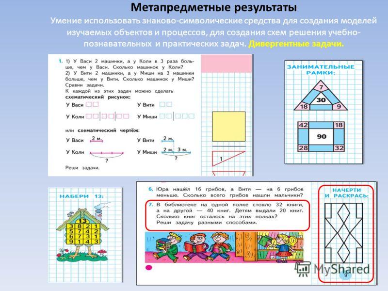 Метапредметные результаты Умение использовать знаково-символические средства для создания моделей изучаемых объектов и процессов, для создания схем решения учебно- познавательных и практических задач. Дивергентные задачи.