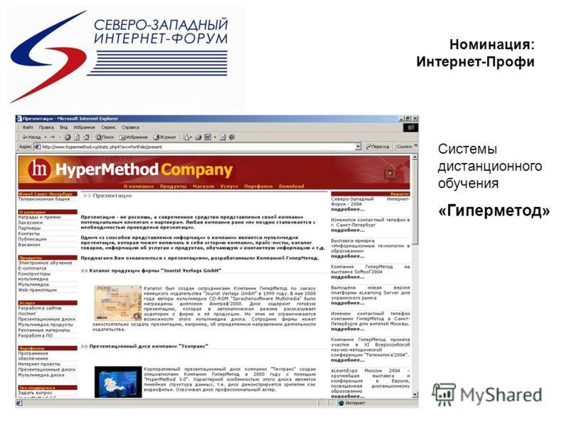 Номинация: Интернет-Профи Системы дистанционного обучения «Гиперметод»