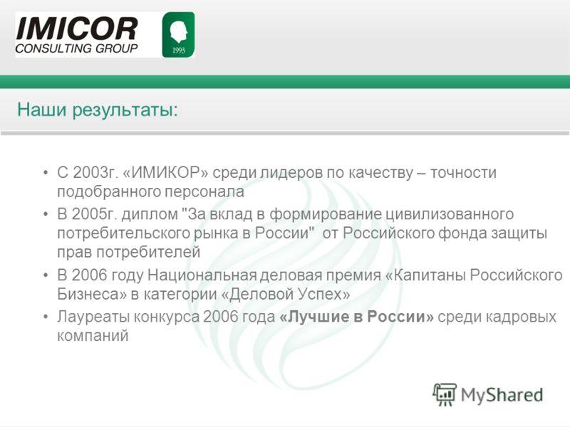 Наши результаты: С 2003г. «ИМИКОР» среди лидеров по качеству – точности подобранного персонала В 2005г. диплом