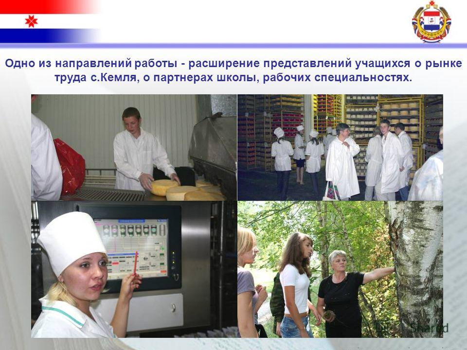 Одно из направлений работы - расширение представлений учащихся о рынке труда с.Кемля, о партнерах школы, рабочих специальностях.