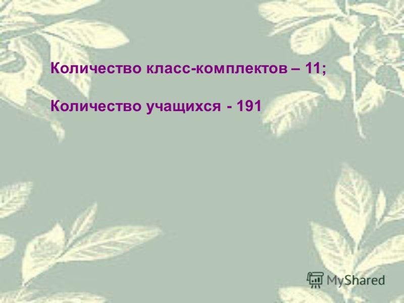 Количество класс-комплектов – 11; Количество учащихся - 191
