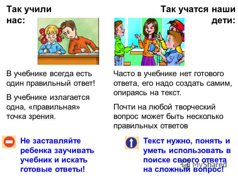 Так учили нас: Так учатся наши дети: Не заставляйте ребенка заучивать учебник и искать готовые ответы! Текст нужно, понять и уметь использовать в поиске своего ответа на сложный вопрос! В учебнике всегда есть один правильный ответ! В учебнике излагае