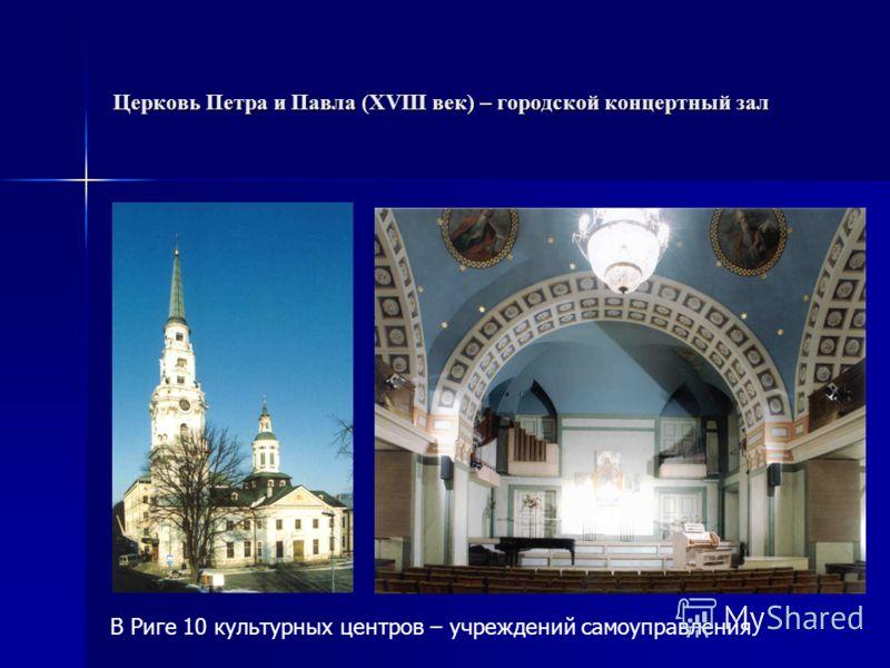 Церковь Петра и Павла (XVIII век) – городской концертный зал В Риге 10 культурных центров – учреждений самоуправления