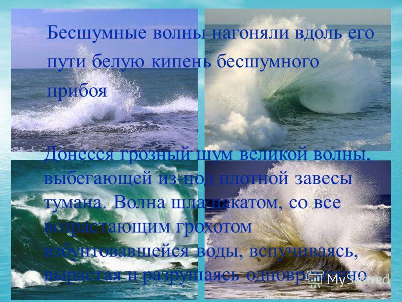 Бесшумные волны нагоняли вдоль его пути белую кипень бесшумного прибоя Донесся грозный шум великой волны, выбегающей из-под плотной завесы тумана. Волна шла накатом, со все возрастающим грохотом взбунтовавшейся воды, вспучиваясь, вырастая и разрушаяс