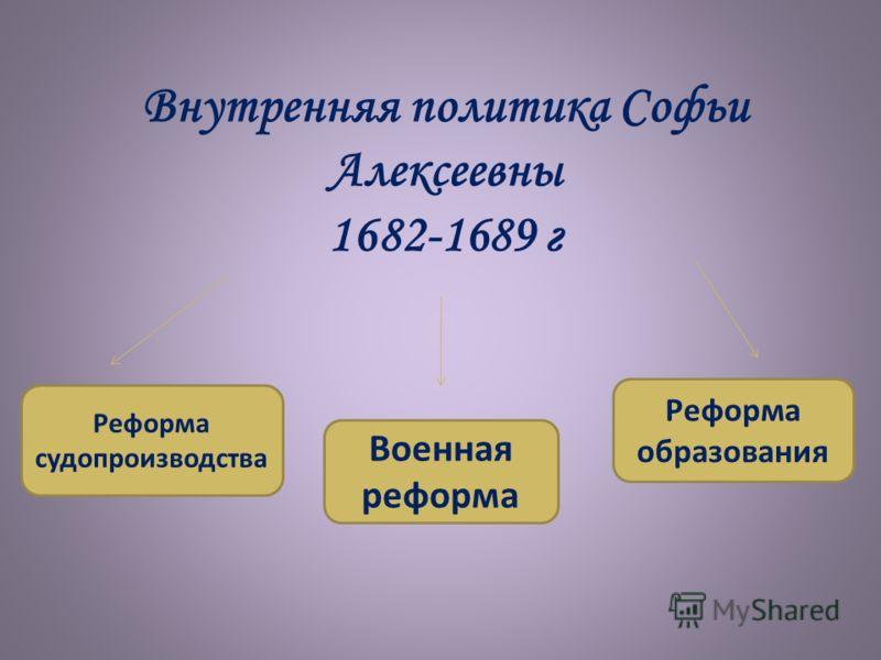 Внутренняя политика Софьи Алексеевны 1682-1689 г Реформа судопроизводства Военная реформа Реформа образования