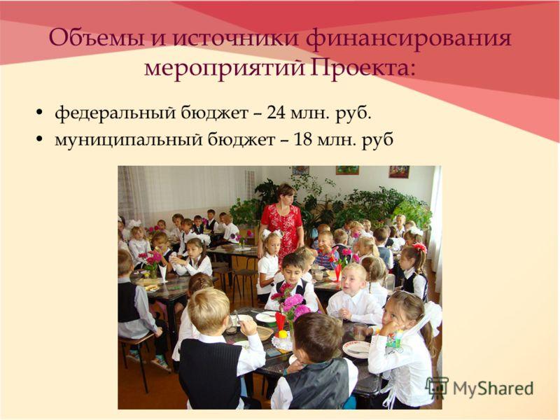 Объемы и источники финансирования мероприятий Проекта: федеральный бюджет – 24 млн. руб. муниципальный бюджет – 18 млн. руб