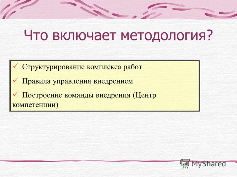 Структурирование комплекса работ Правила управления внедрением Построение команды внедрения (Центр компетенции) Что включает методология?