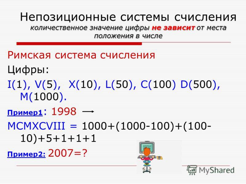 количественное значение цифры не зависит от места положения в числе Непозиционные системы счисления количественное значение цифры не зависит от места положения в числе Римская система счисления Цифры: I(1), V(5), X(10), L(50), C(100) D(500), M(1000).