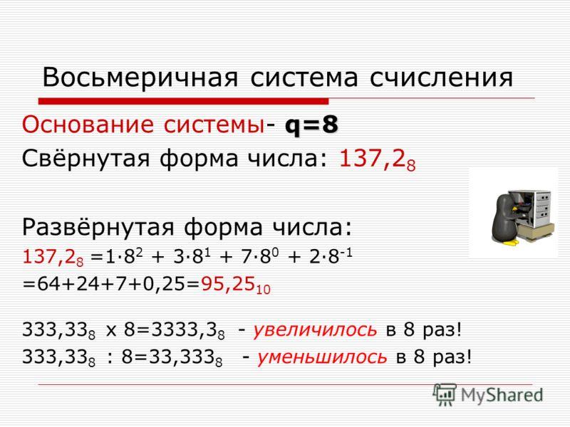 Восьмеричная система счисления q=8 Основание системы- q=8 Свёрнутая форма числа: 137,2 8 Развёрнутая форма числа: 137,2 8 =18 2 + 38 1 + 78 0 + 28 -1 =64+24+7+0,25=95,25 10 333,33 8 x 8=3333,3 8 - увеличилось в 8 раз! 333,33 8 : 8=33,333 8 - уменьшил