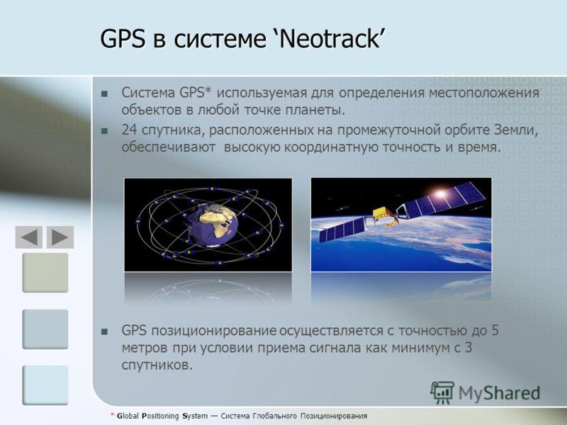 GPS в системе Neotrack Система GPS* используемая для определения местоположения объектов в любой точке планеты. 24 спутника, расположенных на промежуточной орбите Земли, обеспечивают высокую координатную точность и время. GPS позиционирование осущест