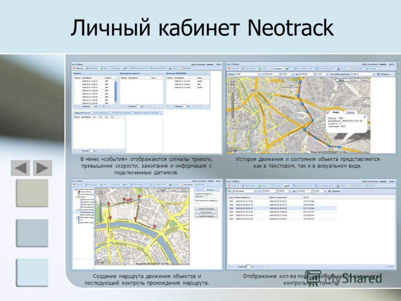 Личный кабинет Neotrack В меню «события» отображаются сигналы тревоги, превышение скорости, зажигание и информация с подключенных датчиков. История движения и состояния объекта представляется как в текстовом, так и в визуальном виде. Отображение кол-
