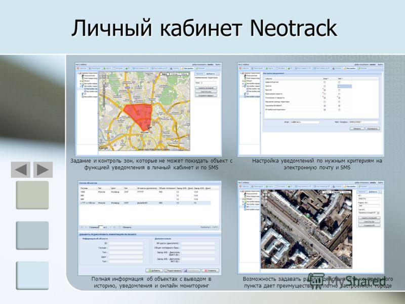 Личный кабинет Neotrack Задание и контроль зон, которые не может покидать объект с функцией уведомления в личный кабинет и по SMS Настройка уведомлений по нужным критериям на электронную почту и SMS Возможность задавать радиус действия для контрольно
