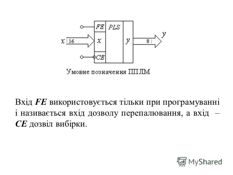 Вхід FE використовується тільки при програмуванні і називається вхід дозволу перепалювання, а вхід – CE дозвіл вибірки.