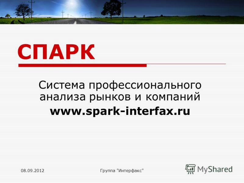 08.09.2012Группа Интерфакс Система профессионального анализа рынков и компаний www.spark-interfax.ru СПАРК