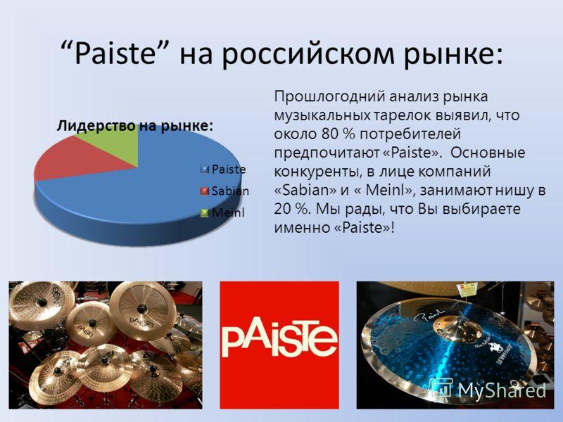 6 3. Набор «Paiste Black Alpha» На этих инструментах играет сам Джой Джордисон – ударник легендарной американской рок- группы «Slipknot». Этим всё сказано! Продукты: