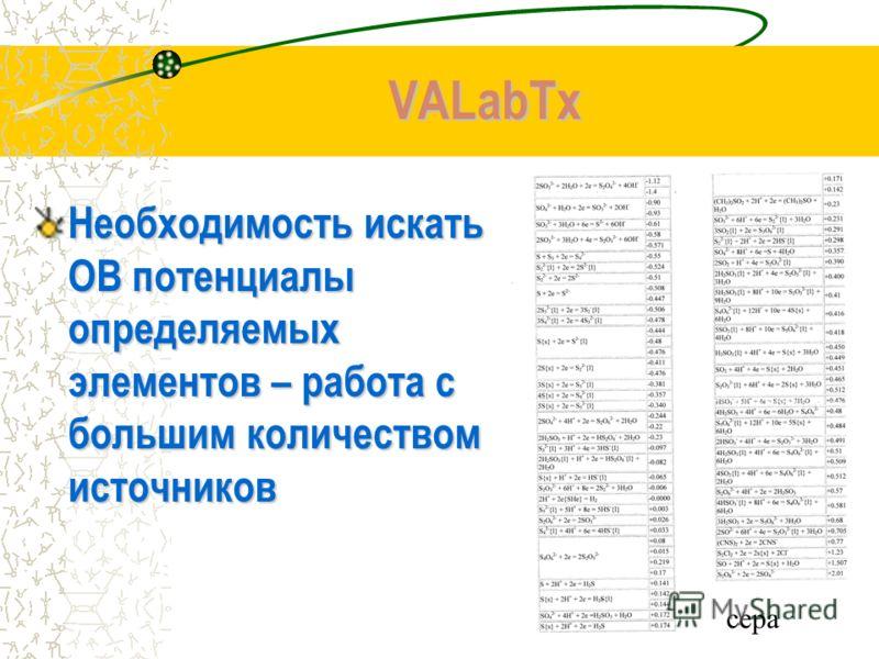 VALabTx Необходимость искать ОВ потенциалы определяемых элементов – работа с большим количеством источников сера