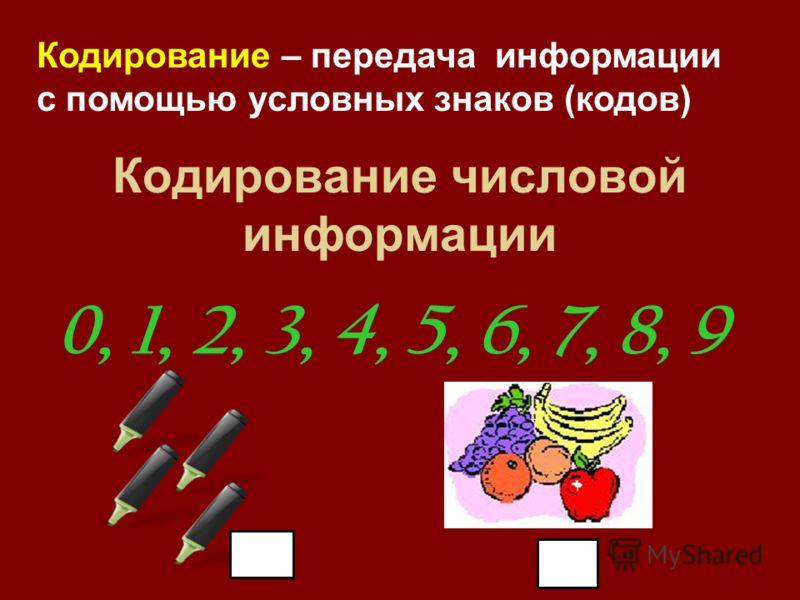 Кодирование числовой информации 0, 1, 2, 3, 4, 5, 6, 7, 8, 9 Кодирование – передача информации с помощью условных знаков (кодов)