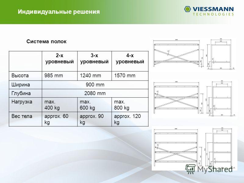 Система полок 2-х уровневый 3-х уровневый 4-х уровневый Высота985 mm1240 mm1570 mm Ширина900 mm Глубина2080 mm Нагрузкаmax. 400 kg max. 600 kg max. 800 kg Вес телаapprox. 60 kg approx. 90 kg approx. 120 kg Индивидуальные решения