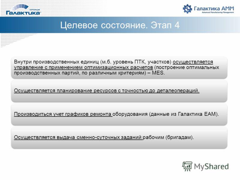 Внутри производственных единиц (м.б. уровень ПТК, участков) осуществляется управление с применением оптимизационных расчетов (построение оптимальных производственных партий, по различным критериям) – MES. Осуществляется планирование ресурсов с точнос